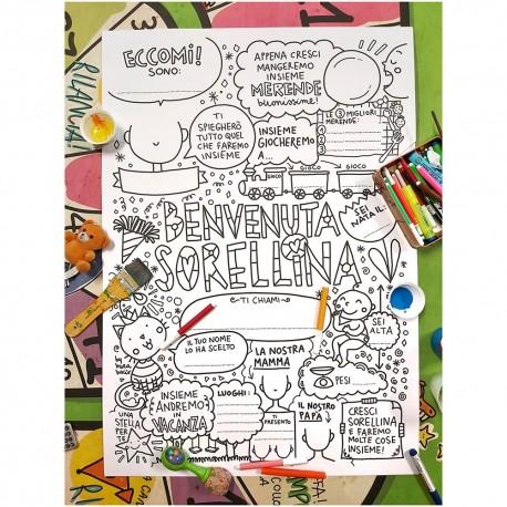Benvenuta sorellina | Poster da colorare