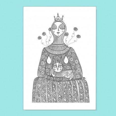 Regina in trono con gatto | Stampa