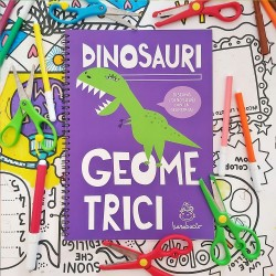 Dinosauri Geometrici | Activity book di disegno, ritaglio e collage