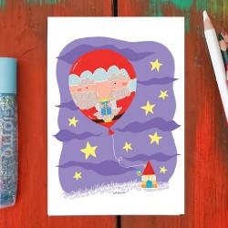 Babbo Natale palloncino | Biglietto di auguri
