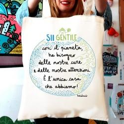 Sii gentile con il pianeta | Borsa shopper in cotone