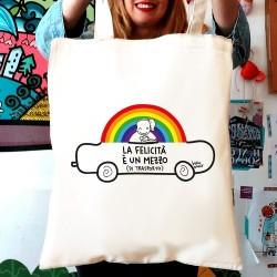 La felicità è un mezzo di trasporto | Borsa shopper in cotone
