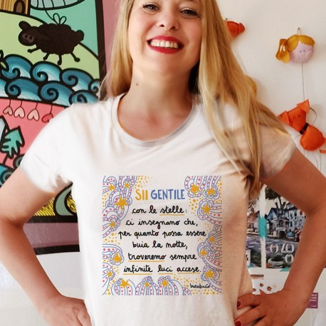 Sii gentile con le stelle   T-shirt donna