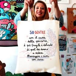 Sii gentile con il cuore delle persone | Borsa shopper in cotone