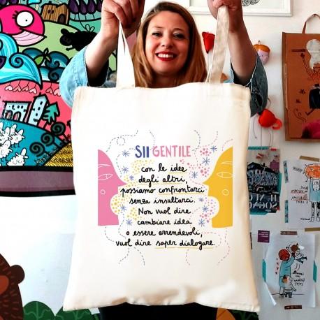 Sii gentile con le idee degli altri | Borsa shopper in cotone