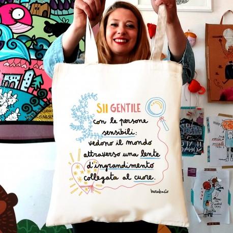 Sii gentile con le persone sensibili | Borsa shopper in cotone