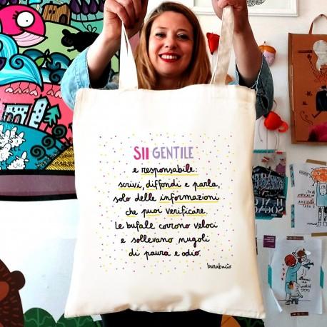 Sii gentile e responsabile | Borsa shopper in cotone
