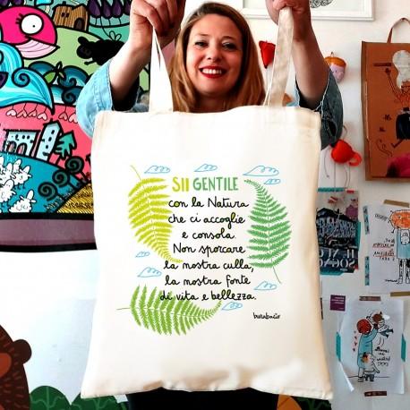 Sii gentile con la natura | Borsa shopper in cotone