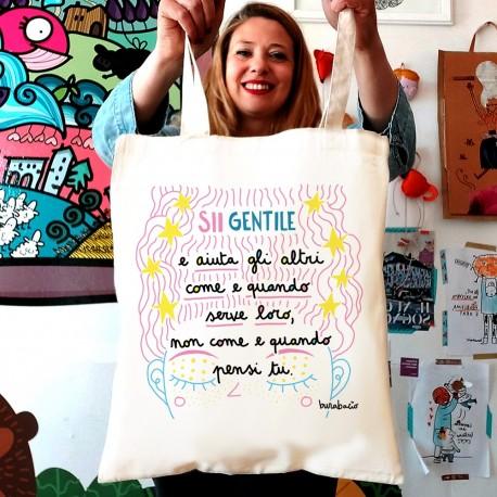 Sii gentile e aiuta gli altri | Borsa shopper in cotone