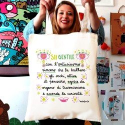 Sii gentile con l'entusiasmo | Borsa shopper in cotone