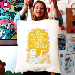 Chi non ha luce in viso, mai potrà essere una stella (William Blake) | Borsa shopper in cotone