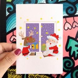 Babbo Natale e la Renna | Stampe & Biglietti