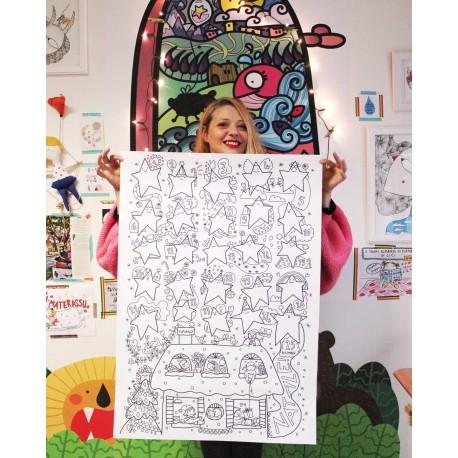 Calendario dell'Avvento gentile   Poster da colorare